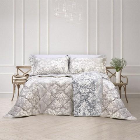 Coordinato letto con motivo floreale beige o grigio in puro cotone - Malaga