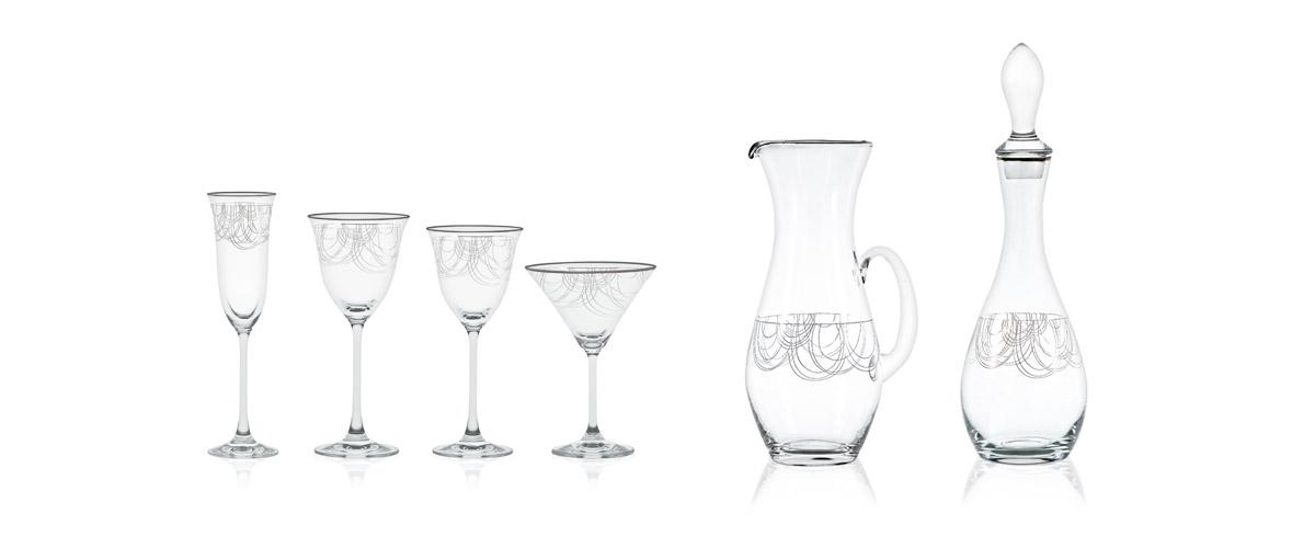 Servizio bicchieri con filo platino - Dallas