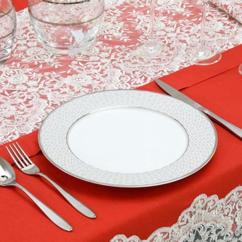 Tovaglia natalizia in lino rosso con pizzo argento - Eloise