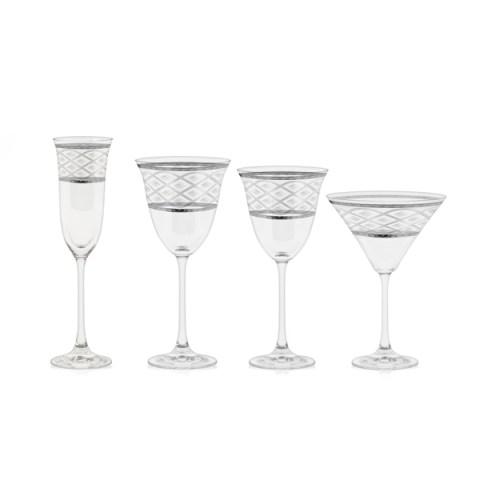 Servizio bicchieri a calice con incisione e decoro filo Platino - Carisma