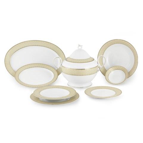 Servizio di piatti in fine porcellana con decorazione filo Oro - Carisma