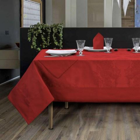 Servizio Tavola in Fiandra di colore rosso per 8 e 12 persone con tovaglioli in puro cotone