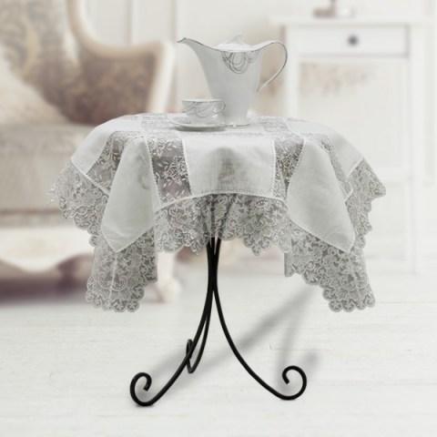 Tovaglietta the lino panna pizzo tulle ricamato argento - Caterina