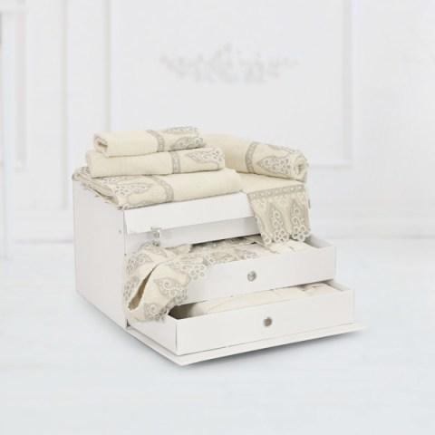 Completo biancheria da bagno in spugna di colore panna con pizzo argento - Chantal