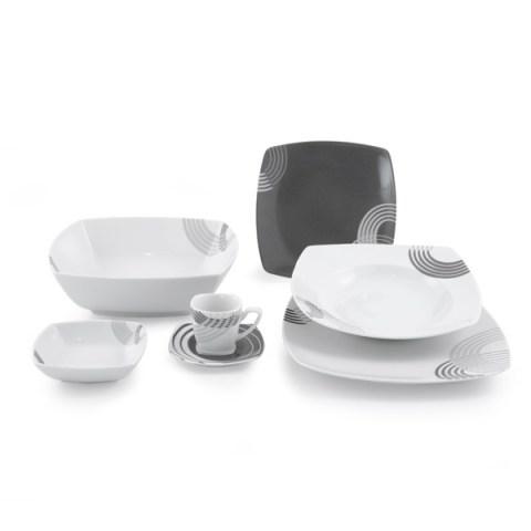 Completo piatti quadrato colore grigio - Cosmo
