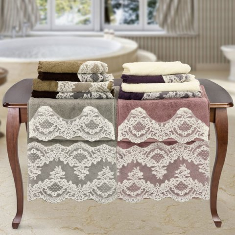 Confezione 6+6 asciugamani pizzo rebrode sposa spugna colorata - Clarissa