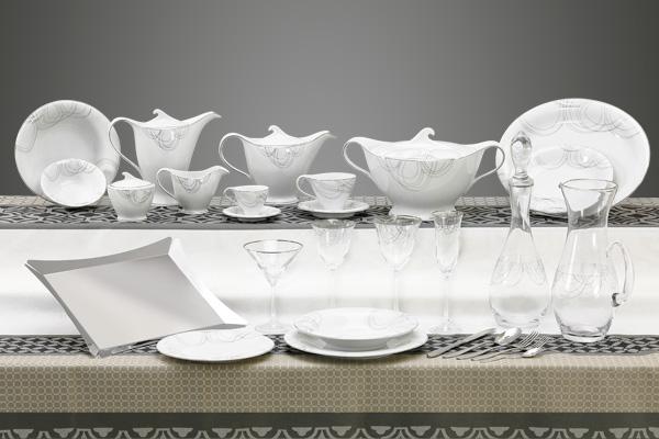 Coordinato piatti quadrato bicchieri e vassoi design moderno decoro argento - Dallas