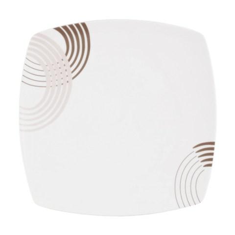Piatto porcellana con decorazione colore tortora - Cosmo