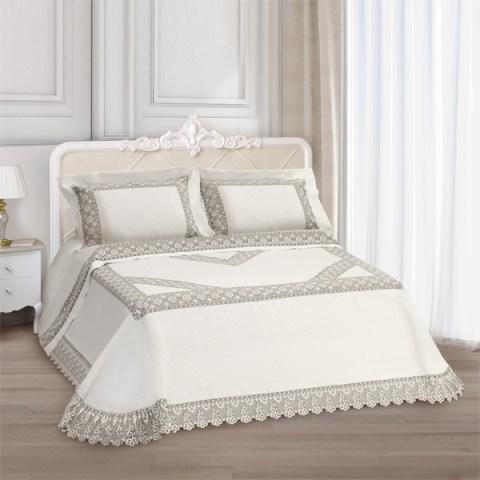 Primo letto corredo lino avorio pizzo argento - Chantal