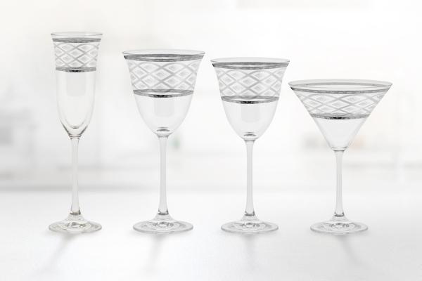 Servizio bicchieri incisione decorato filo platino - Carisma