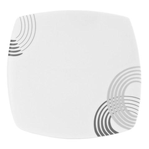 Servizio piatti fine porcellana quadrato grigio - Cosmo