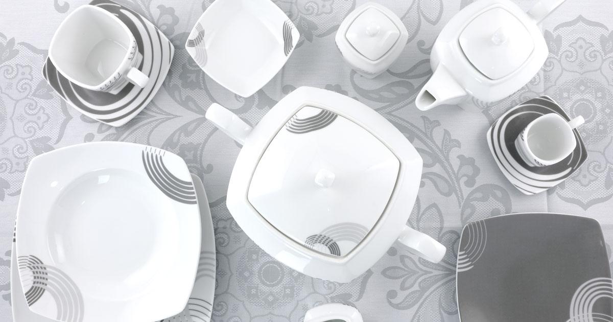 Servizio piatti grigio quadrato - Cosmo