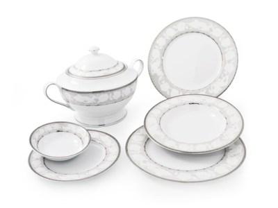 Servizio tavola piatti decorati platino angeli fine porcellana