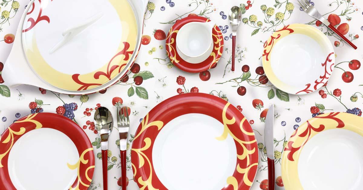 Servizio tavola porcellana bordeaux fantasia moderna - Bahia
