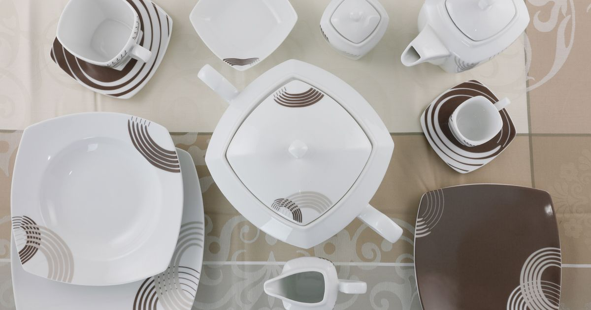Servizio tavola quadrato colore tortora - Cosmo