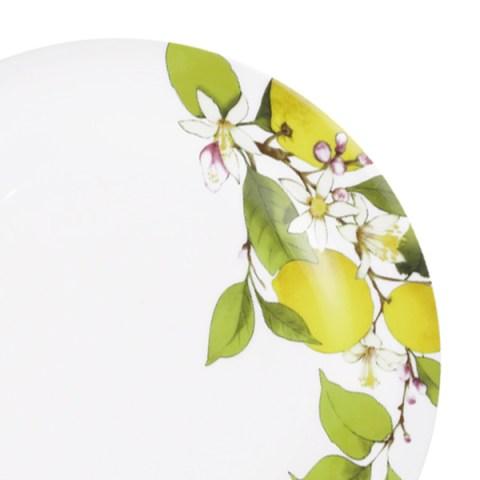 Set piatti decoro limoni lamponi fine porcellana
