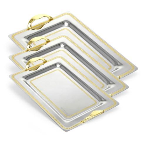 Set vassoi 3 pezzi incisi acciaio decorati oro - Greta