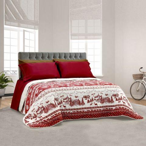 Coordinato letto invernale con fantasia natalizia - Rosso Natale
