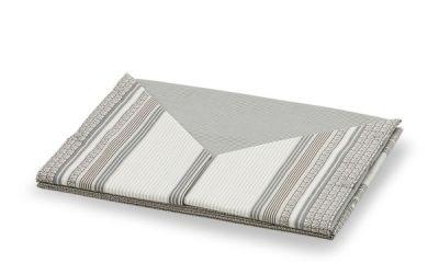 Coppia lenzuola in cotone con fantasia a righe moderna di colore beige - Stoccolma