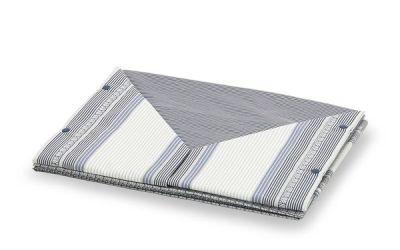 Coppia lenzuola in cotone con fantasia a righe moderna di colore blu e grigio - Stoccolma