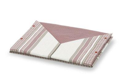 Coppia lenzuola in cotone con fantasia a righe moderna di colore bordò e sabbia - Stoccolma