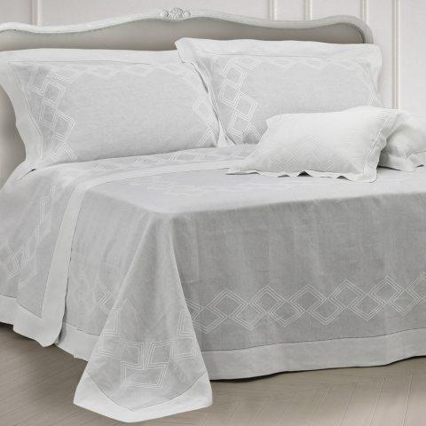 Primo letto sposa moderno in lino bianco con ricamo geometrico - Geo