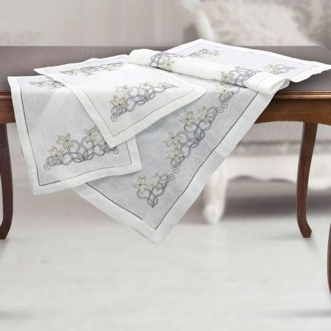 Set centri camera da letto 3-pezzi in puro lino bianco ricamato - Fiori d'Argento