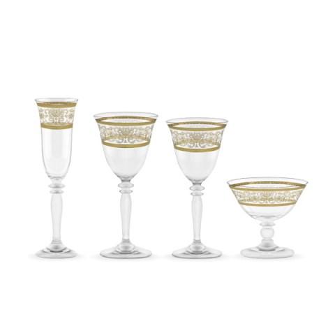 Servizio bicchieri classico decorato oro 50 pezzi - Royal