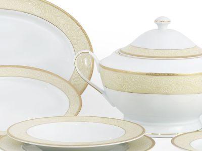 Completo porcellana decorato filo oro pizzo - Cantù