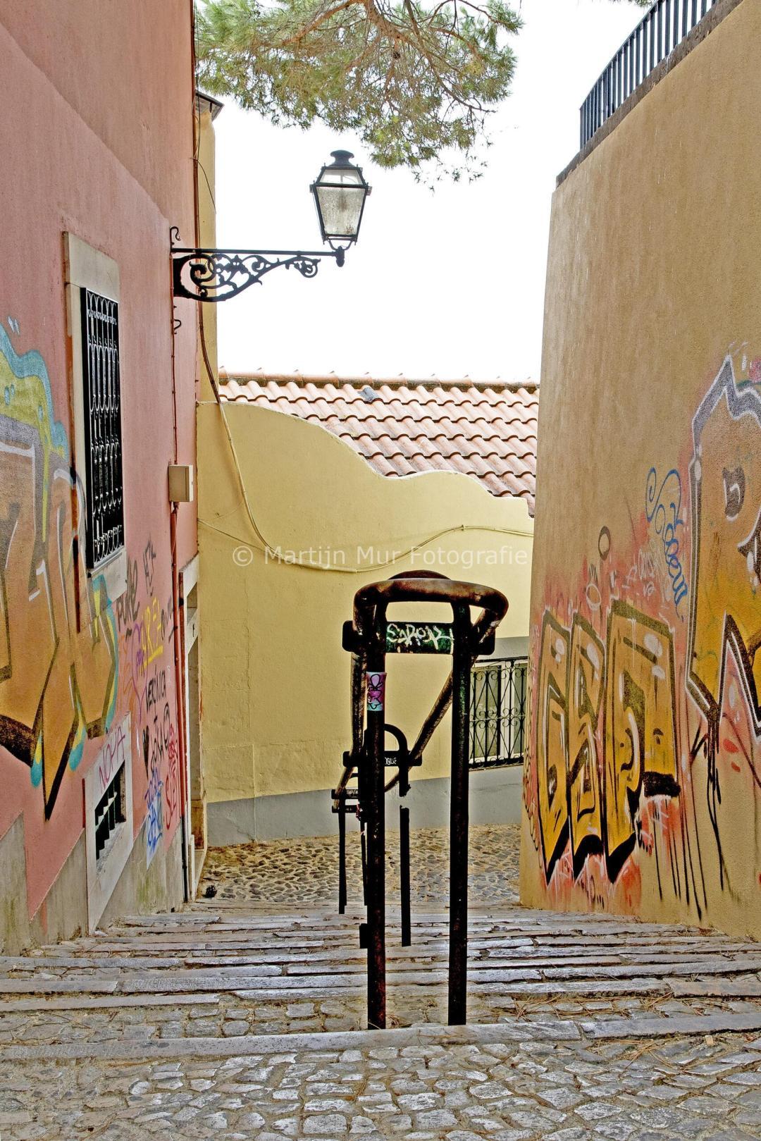gekleurde muren in Lissabon, eigen werk te koop