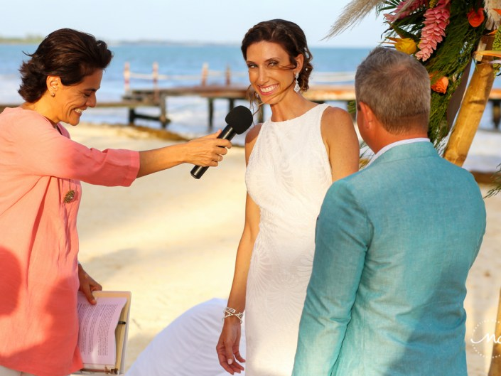 Happy bride at Blue Diamond Riviera Maya Beach Wedding in Mexico. Martina Campolo Photography