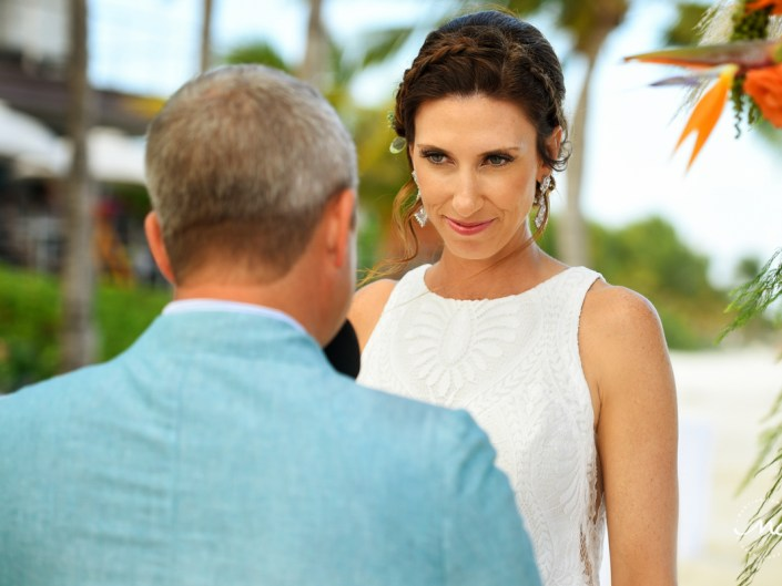 Emotional bride during Blue Diamond Riviera Maya Beach Wedding in Mexico. Martina Campolo Photography