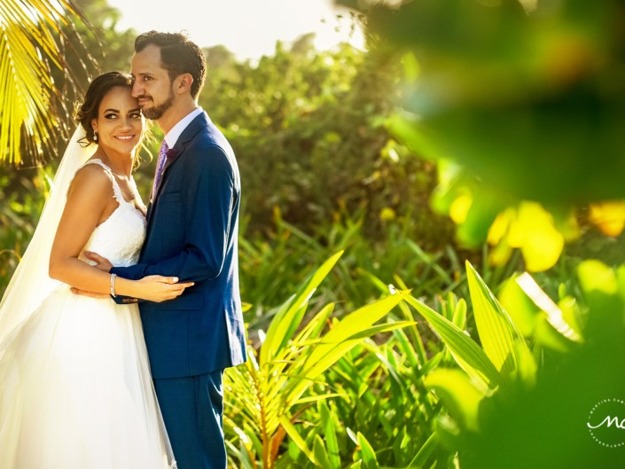 Bride and groom portraits at Blue Venado Beach Wedding in Mexico. Martina Campolo Photography
