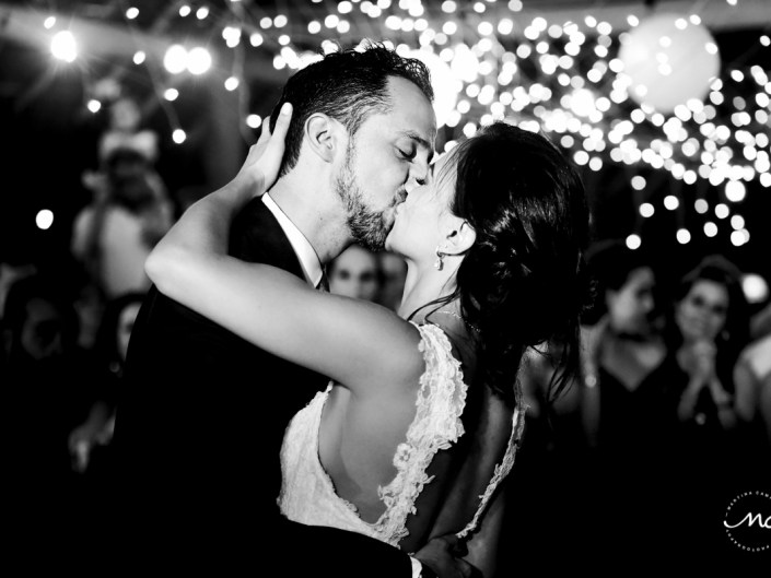 Black and white photo of bride and groom at Blue Venado Wedding in Mexico. Martina Campolo Photography