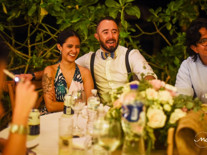 Wedding Reception moment at Blue Venado Beach Club in Mexico. Martina Campolo Photography