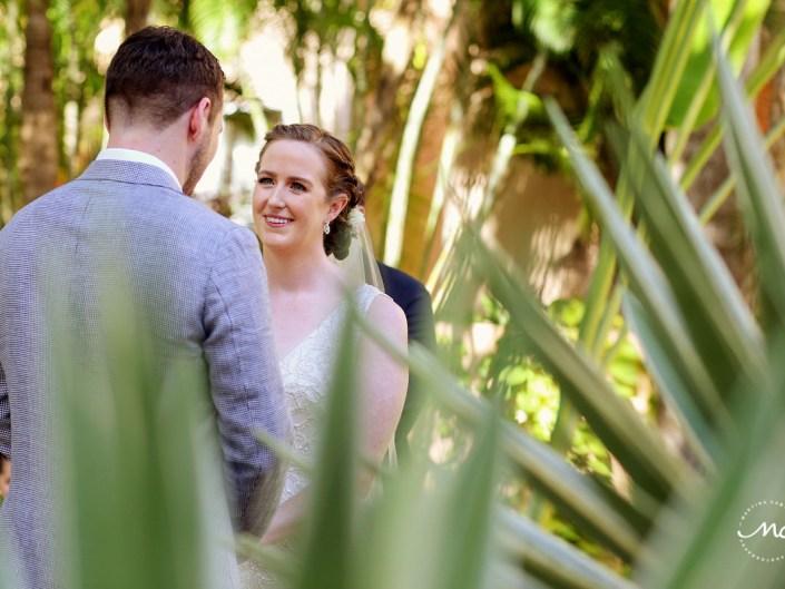 Destination bride at her garden wedding in Hacienda del Mar, Riviera Maya, Mexico. Martina Campolo Photography
