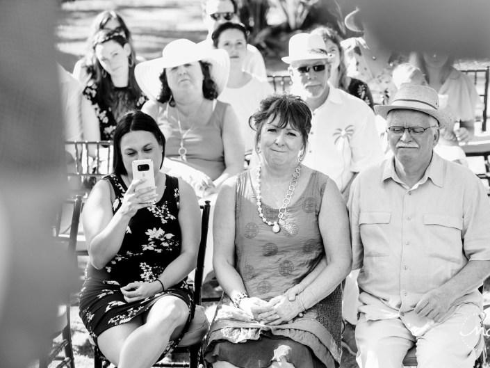 Black and white photo of wedding guests at Hacienda del Mar, Puerto Aventuras, Mexico. Martina Campolo Photography
