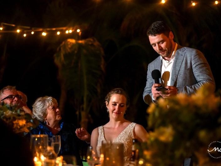 Groom speech. Hacienda del Mar wedding in Puerto Aventuras, Mexico. Martina Campolo Photography