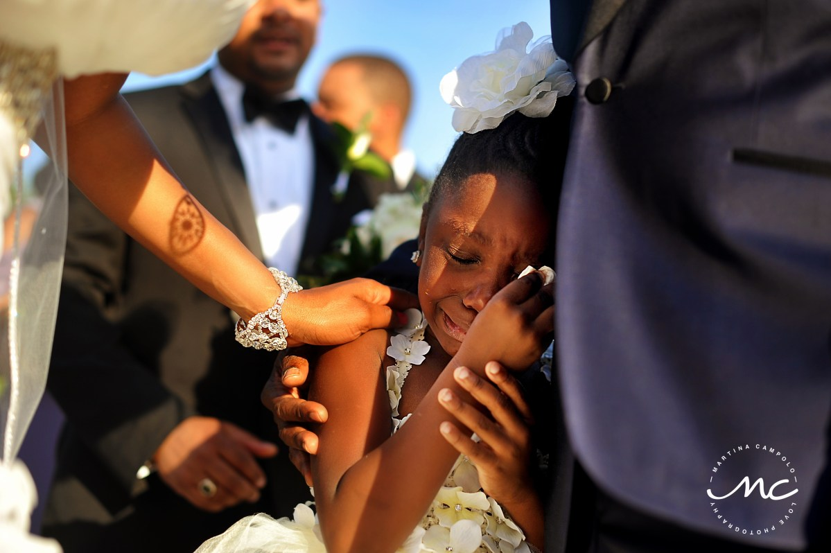Emotional flower girl at Paradisus Playa del Carmen Wedding. Martina Campolo Photographer