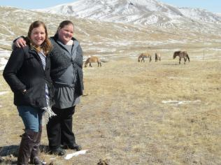 My sister and I with the horses