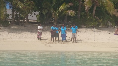 Our wonderful welcome serenade at Barefoot Island, Fiji