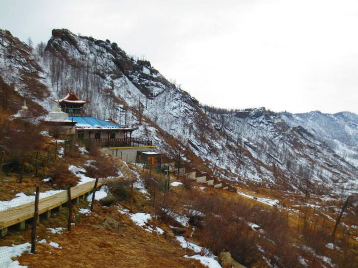 The monastery perched on the mountainside