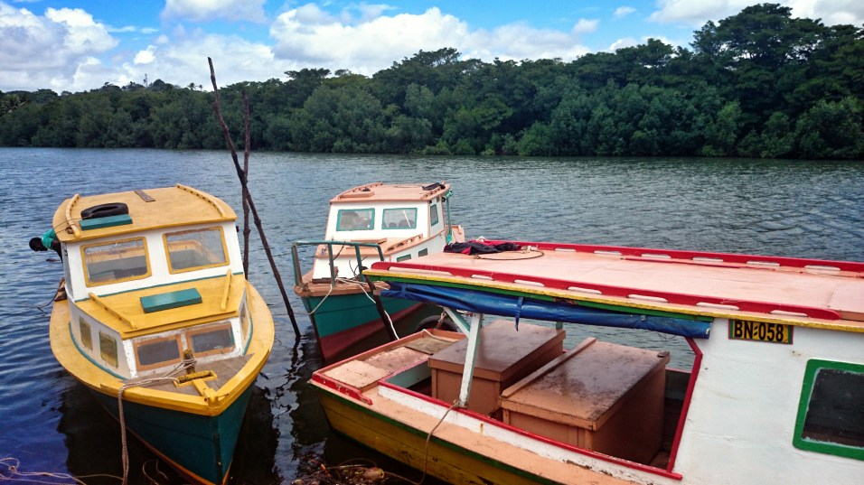Brightly painted boats on the river in Labasa, Fiji