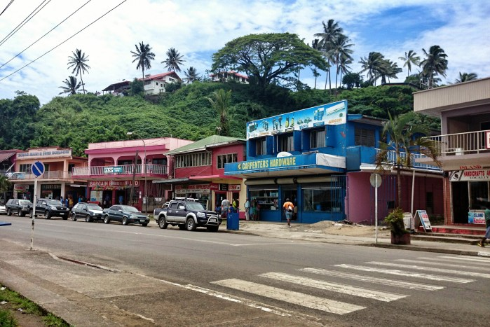 Downtown Savusavu is quite pretty, especially with the steep green hills climbing up behind the shops.