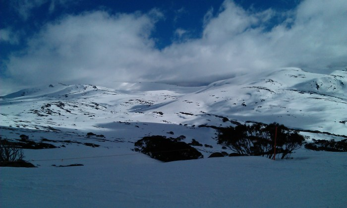 Stunning views over snow-covered Mt Kosciuszko, Australia's highest peak.