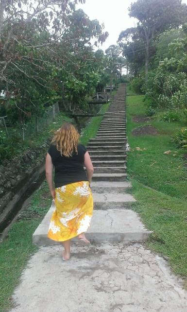 Climbing stairs in Levuka