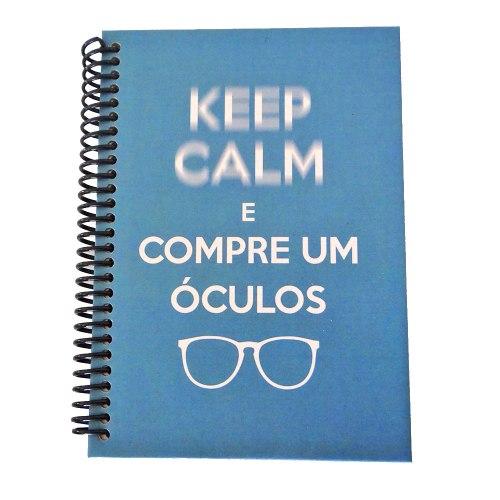 caderno decoração keep calm óculos ótica