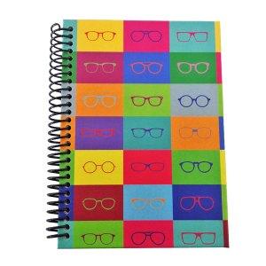 caderno pop arte óculos ótica