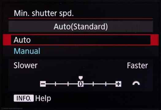 Canon EOS 5Ds R Minimum Shutter Speed - Auto