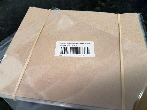Polypropylene bags neutral adhesive flap 140x140 + 30